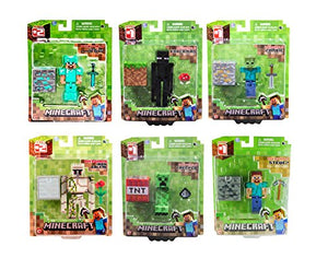 Set of 6 Jazwares Minecraft Figures - Diamond Steve, Endermen, Zombie, Iron Golem, Creeper and Steve