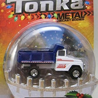 Santa's Workshop Blue & White Dump Truck Tonka Metal Holiday Diecast 1:50 Scale