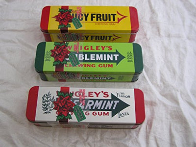Wrigleys Chewing Gum Heritage Tins Stocking Stuffers (Spearmint, Doublemint & Juicy Fruit) - 3 ct Bundle