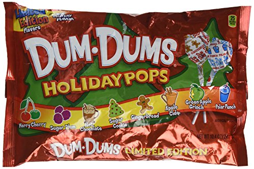 Dum-Dums Holiday Pops, 44 Pops; 8 Flavors: Sugar Cookie, Gingerbread, Apple Cider, etc.