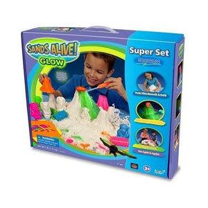 Play Sand Mega Explorer Set - 3 lbs of Glow In The Dark Light Up Sand - With UV Pen Light, Tray, UV Glasses, Molds And More