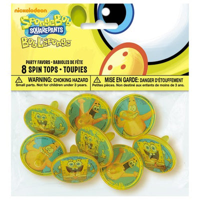 SpongeBob SquarePants Plastic Spinning Tops, 8ct
