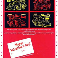 Box of 16 Cars and Trucks Etch Art Valentine Cards Includes 16 Styluses 4 Different Designs
