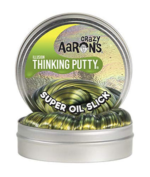 "Crazy Aaron's Thinking Putty 4"" Tin 3.2 oz Super Oil Slick - Multi-Color Metallic - Never Dries Out"