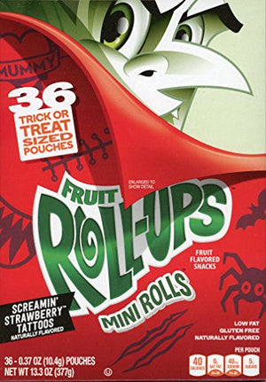Betty Crocker Fruit Roll-ups Mini Rolls Screamin' Strawberry Tattoos Fruit Flavored Snacks, 0.37 Oz, 36 Count