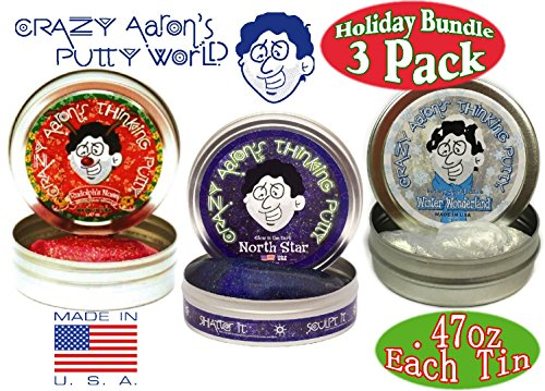 "Crazy Aaron's Thinking Putty Mini Tins ""Winter Wonderland"" White Glitter, ""North Star"" Glow in the Dark & ""Rudolph's Nose"" Red Glitter Holiday (Christmas) Gift Set Bundle - 3 Pack (Limited Edition)"