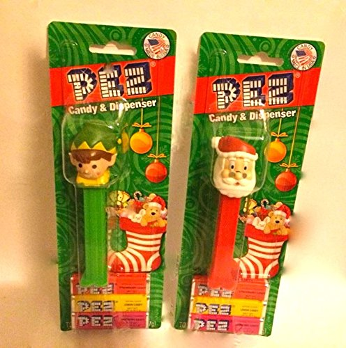 Combo Pack - PEZ - Santa Dispenser and Elf Dispenser, Plus 6 Refill Candy Packs