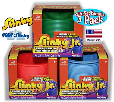 POOF-Slinky Original Plastic Slinky Jr. Blue, Green, Pink & Yellow Complete Gift Set Party Bundle - 4 Pack