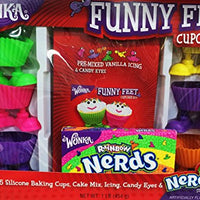 Wonka Funny Feet Cupcake Kit Gift Set with Rainbow Nerds Candy