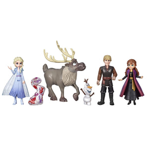 Disney Frozen Adventure Collection, 5 Small Dolls from Frozen 2, Anna, Elsa, Kristoff, Sven, Olaf, & Gale Accessory