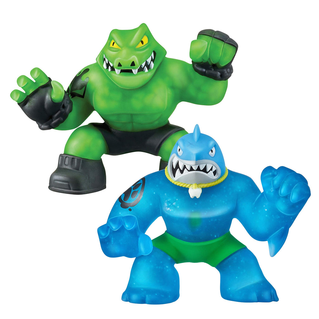 Heroes of Goo Jit Zu - 2 Pack of Glow in The Dark Action Figures, Thrash Vs Rockjaw