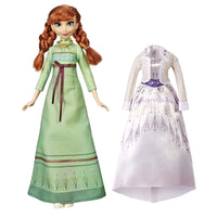 Disney Frozen Arendelle Fashions Anna Fashion Doll with 2 Outfits, Green Nightgown & White Dress Inspired by the Frozen 2 Movie - Toy For Kids 3 Years Old & Up