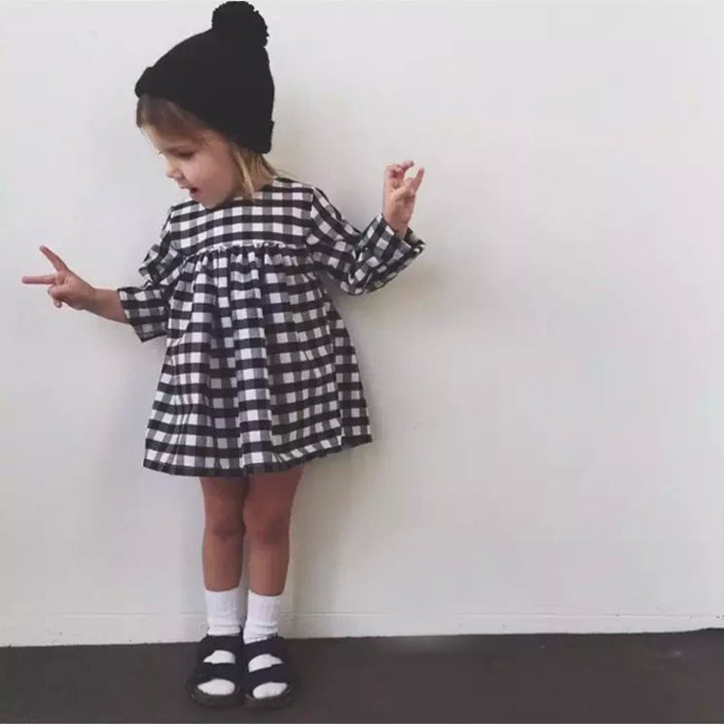 Plaid Black + White Baby Girl Dress