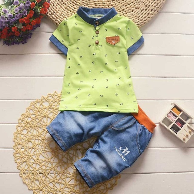 Baby Boy Short-Sleeve Collar T-Shirt + Pants with