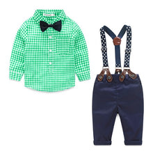 Load image into Gallery viewer, Baby Boy Plaid Button-Up Shirt with Bow Tie + Overalls