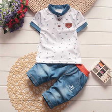 "Load image into Gallery viewer, Baby Boy Short-Sleeve Collar T-Shirt + Pants with ""M"" Lettering"