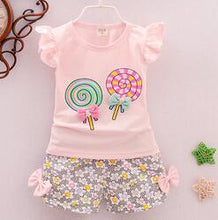 Load image into Gallery viewer, Baby Girl T-Shirt + Shorts in Candy Design