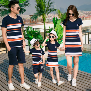 Matching Family Outfit for Dad, Son, Mom + Daughter in Stripes