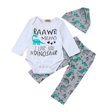 "Load image into Gallery viewer, Baby T-Shirt, Pants + Hat Set with ""Raawr Means I love You in Dinosaur"" Writing"