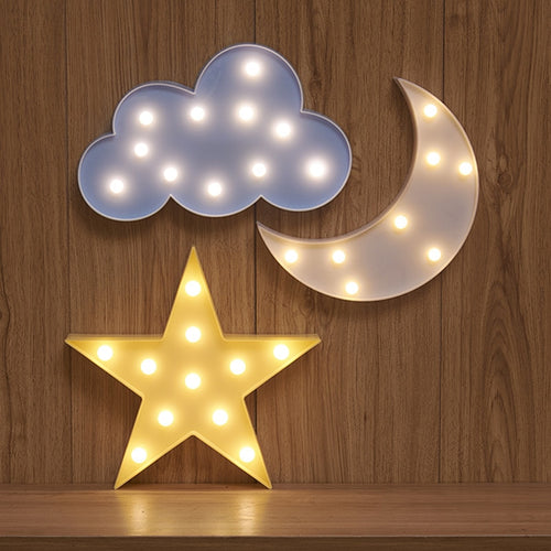 LED 3D Baby Night Light in Cloud, Star, Moon Design