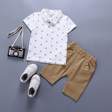 Load image into Gallery viewer, Baby Boy Polo + Khaki Pants Set in White + Blue
