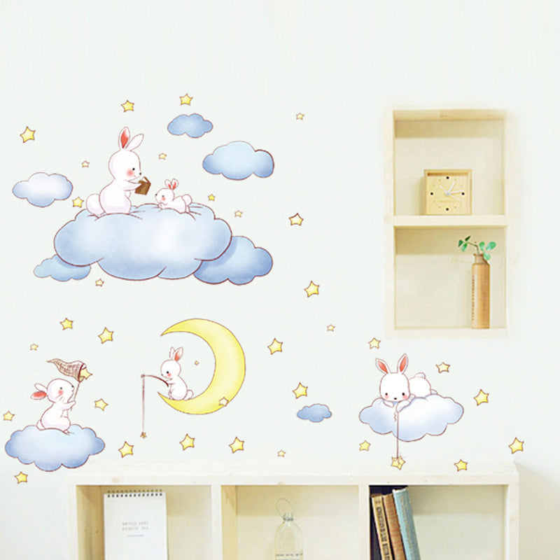 Wall Stickers For Baby Room with Cartoon White Clouds