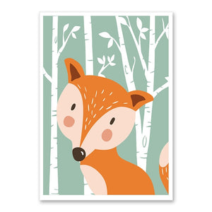 Baby Canvas Painting Wall Art with Forest Cute Animals