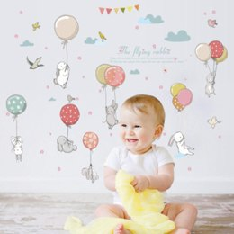 Baby Wall Stickers with Cute Cartoon Rabbit Colorful Balloons