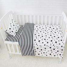 Load image into Gallery viewer, Crib Bedding Set in Black + White Patterns