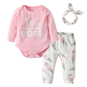 "Baby Girl ""Mini Boss"" Pants, Headband + Shirt Set"