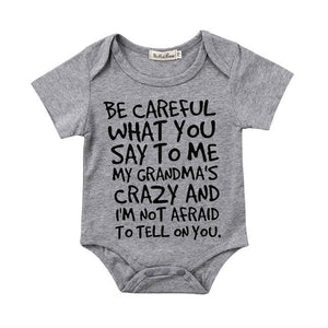 "Baby Boy + Girl ""I'm Not Afraid to Tell Grandma"" Onesie"