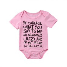 "Load image into Gallery viewer, Baby Boy + Girl ""I'm Not Afraid to Tell Grandma"" Onesie"