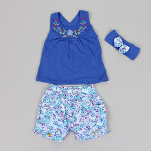 Load image into Gallery viewer, Baby Girl T-Shirt, Shorts +Headband Set in Blue, Yellow + Pink