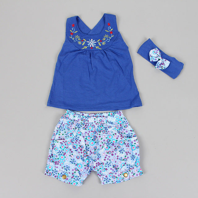 Baby Girl T-Shirt, Shorts +Headband Set in Blue, Yellow + Pink