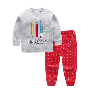 Baby Boy + Girl Cotton Pants + Long-Sleeve Shirt Collection with Animal Designs
