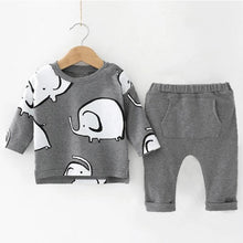 Load image into Gallery viewer, Baby Boy Long Sleeve + Pants Set in Elephant Design