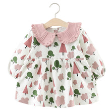 Load image into Gallery viewer, Baby Girl Dress with Small Tree Pattern + Collar