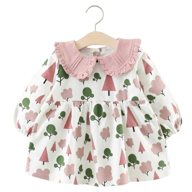 Baby Girl Dress with Small Tree Pattern + Collar