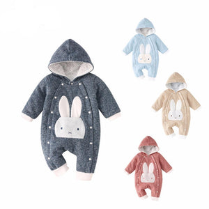 Baby Girl + Boy Thick Cotton Jumpsuit in Animal Designs with 14 Choice Colors