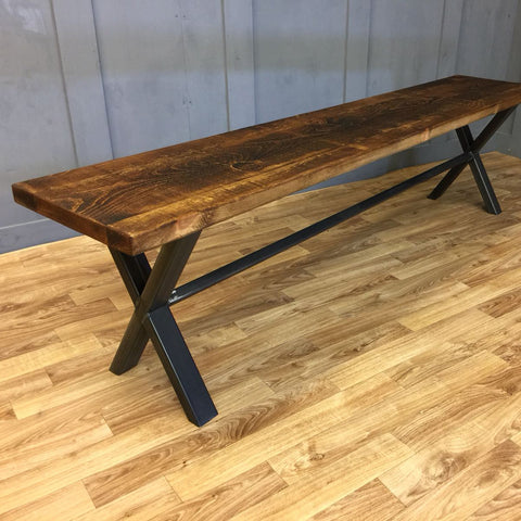 Industrial Style Bench 'X' Frame 140cm (or smaller)