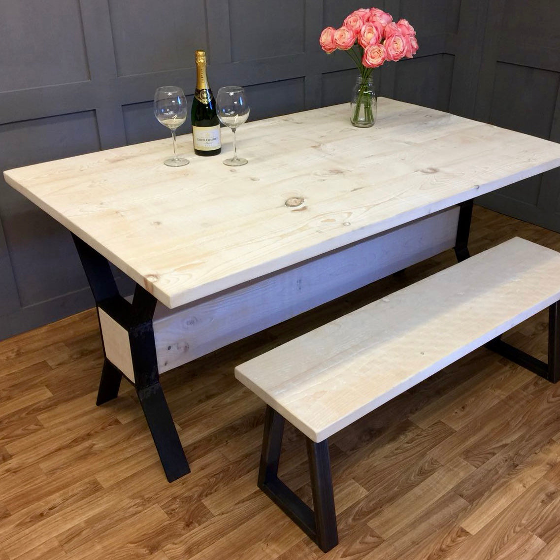 Timber Block Table White Wash 100cm - 240cm