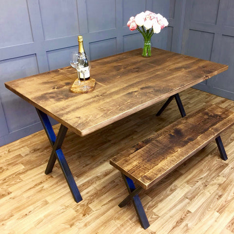 Industrial Style Table X Frame 100cm - 240cm