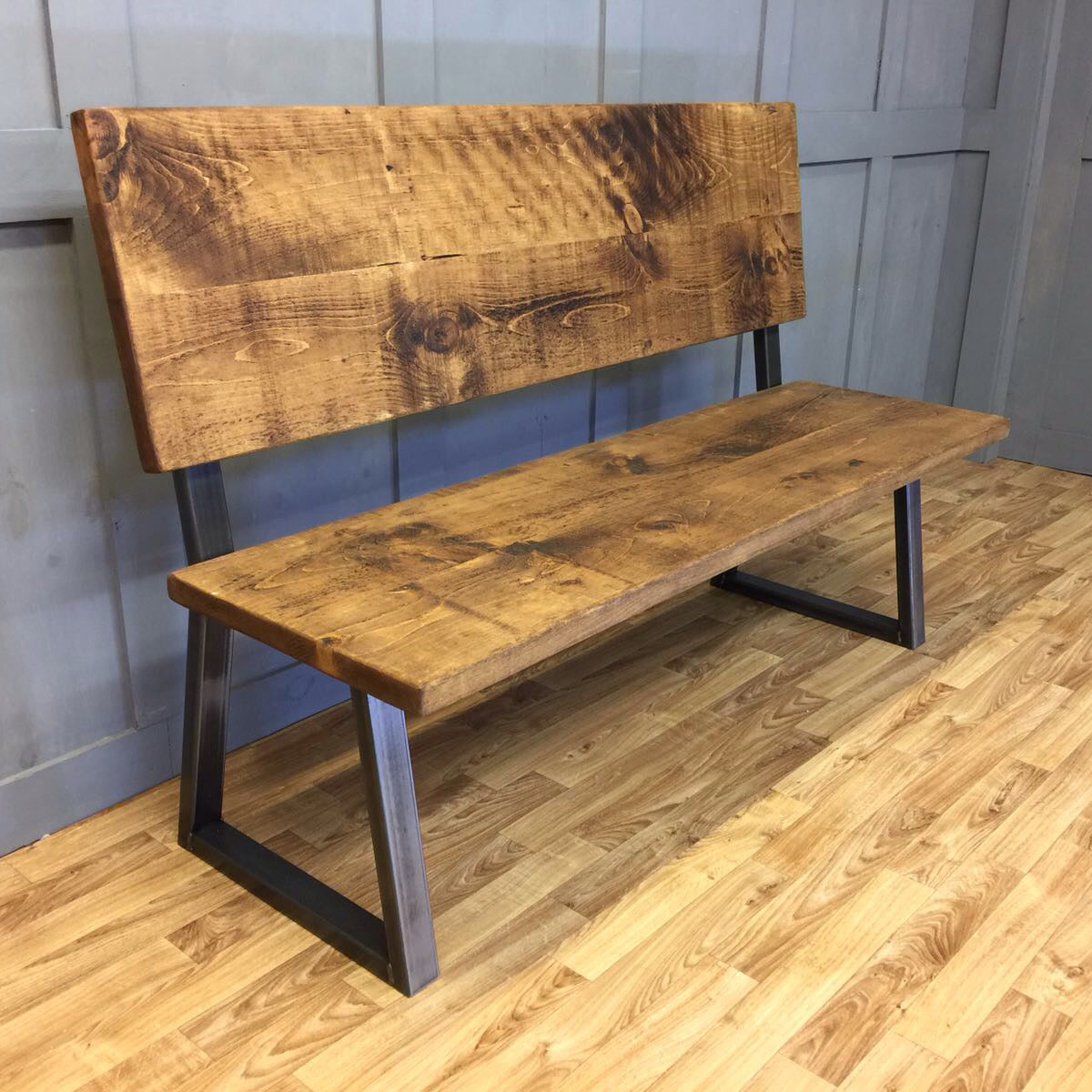 Industrial Style Bench Calia Frame with Backboard