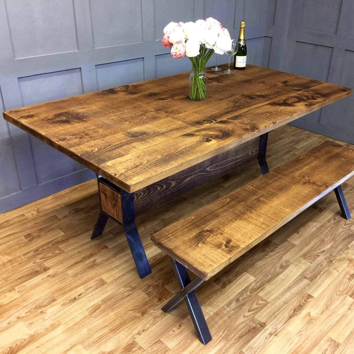 Industrial Style Table Timber Block