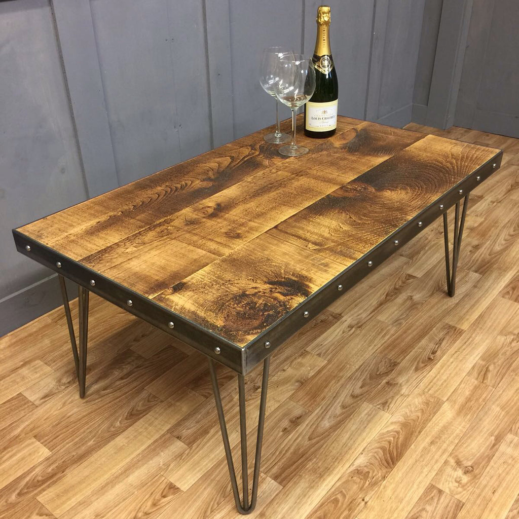 Industrial Style Rivet Low Coffee Table