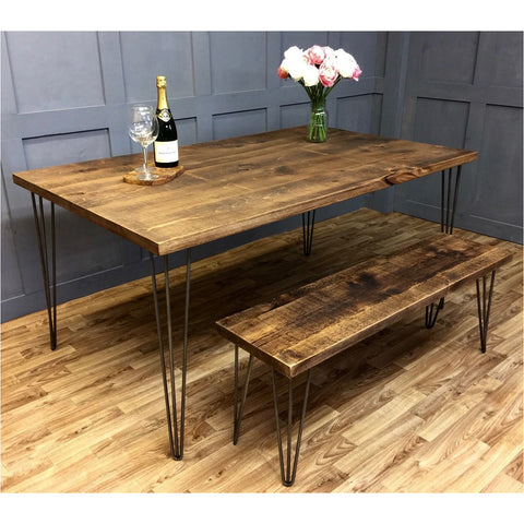 Hairpin Dining Table with Raw Steel Leg