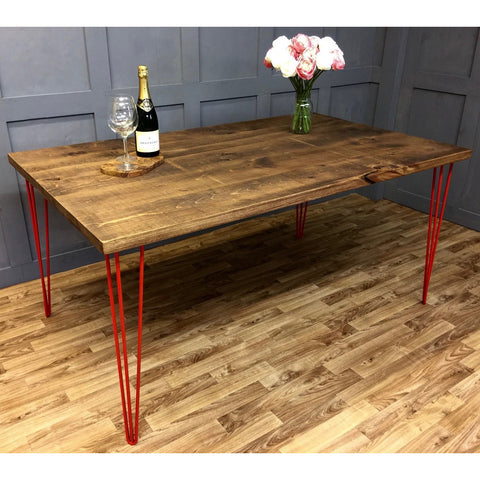 Hairpin Dining Table with Red Leg
