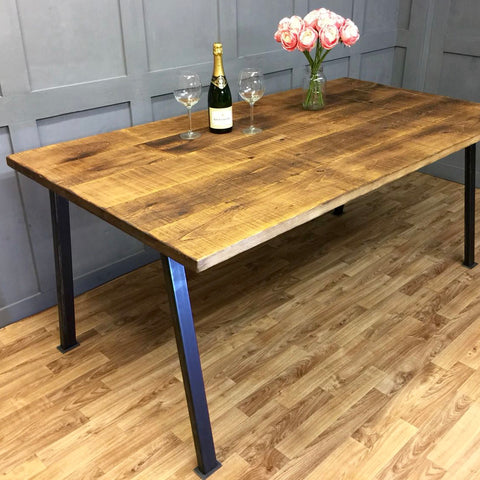 Straight Leg Industrial Dining Table