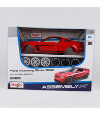 2012 Ford Mustang Boss 302 in Red - Assembly Line Diecast Metal Model Kit - Skill Level 2 - Elea Toys