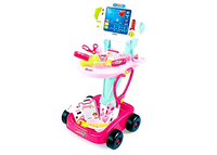Doctor/Nurse Medical Cart with Cardio Screen - Pink - Elea Toys